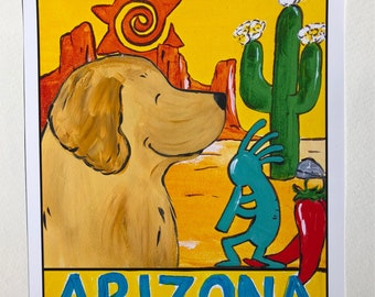 "Whimsical Golden Retriever ""A Golden State Of Mind"" 8x10 print Arizona"