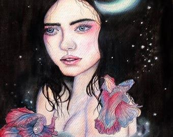 Deep Water- watercolour portrait illustration PRINT