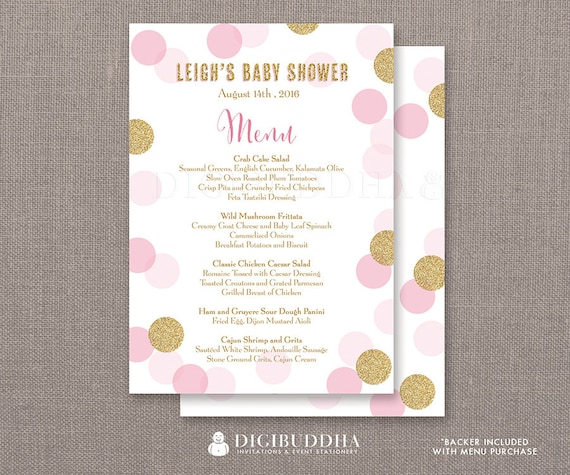 Menus For Baby Showers Luncheon ~ Pink gold glitter dots menu baby shower party it s