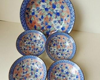 Japanese Porcelain Set of 5 Bowls Blue and Pink Flowers