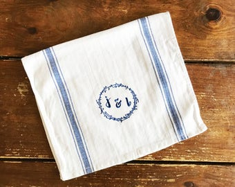 Personalized Absorbent Vintage Look Cotton Herringbone White With Blue  Stripe Tea Towel 13x23