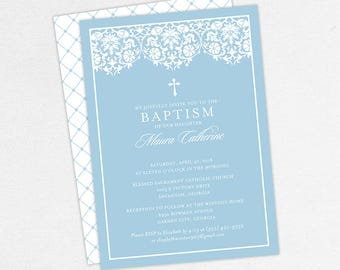 Girl Baptism Invitation, Christening Invitation, Printable Baptism Invitation, PDF Invite, DIY Invite, Lace, Floral, Damask, Blue, Maura
