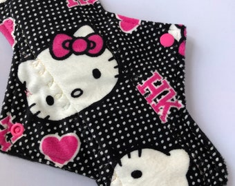 "10.25"" Kitty  on minky Top reusable cloth pad (regular)"