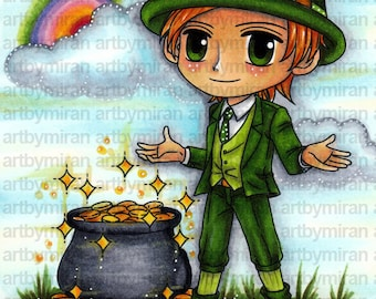 Digital Stamp - Lucky Patrick (ABM 009), Digi Stamp, Coloring page, Printable Line art for Card and Craft Supply