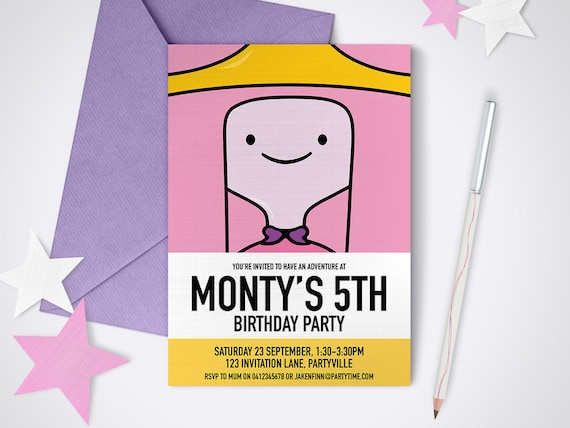 Adventure Time Princess Bubblegum printable invitation Edit