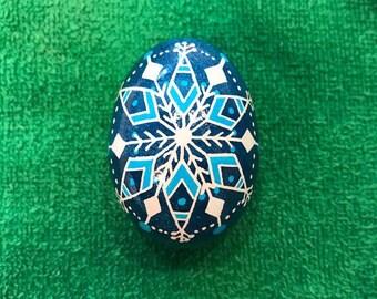 Two Tone Blue Snowflake Egg