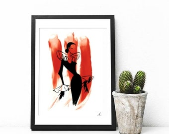 A4 Black and Red Fashion Lady Print