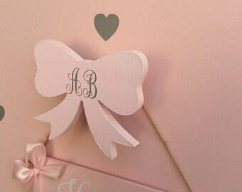Hooks girls room bow hook monogrammed bow hooks clouds cloud hooks cloud nursery