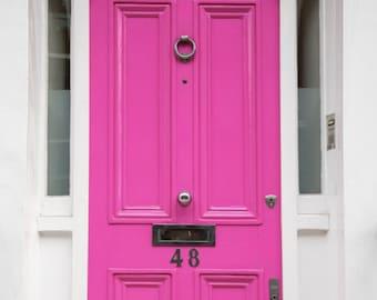 Love Door - London Photography - Colourful Houses Print - Chelsea - Pink Door