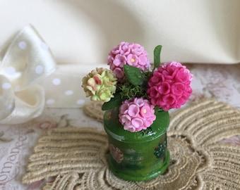 Miniature Milk pot with hydrangeas