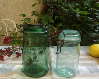 2 old jars with a small marks: the ideal and SOLIDEX