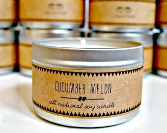 CUCUMBER MELON // Soy Candle. Natural Candle. Scented Candle. Eco Friendly. Vegan Friendly.