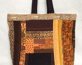Patchwork Hand Quilted Tote bag, Orange Sashiko Quilt purse ,  Log Cabin Unique tote, Autumn quilt bag