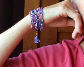 """Salvia Beaded Wrap Bracelet with or without Tassel or Charm - 87"""" Long Seed Bead Stretch Bracelet"""