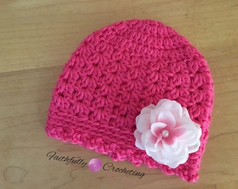 Newborn girl beanie... Bright pink hat.. Ready to ship.. Photography prop