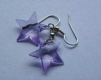 Dangle Clear Purple Star Earrings   #345   Free Shipping within US