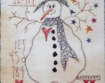 I Done My Best Primitive Stitchery FROSTY Snowman Embroidery Needlework Pattern & Stars #118