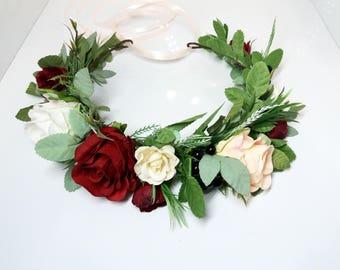 Burgundy Flower crown,Roses Maroon crown,Floral crown,Wedding flower crown,Flower girl crown,Bridal flower crown,Bridesmaid flower crown