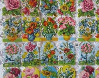 Vintage EAS Germany Die Cut Paper Scraps Of Floral Bouquets  EAS 3031