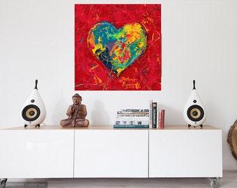 Bedroom wall art, Will & Grace wall art, Heart art, Modern wall art, Lovers art, Art for Lovers,  Johno Prascak, Johnos Art Studio