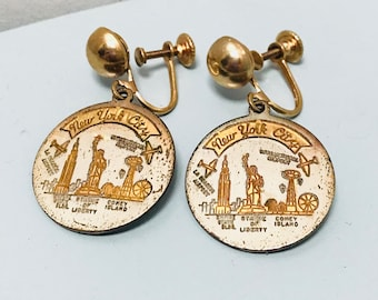 Vintage 1960s New York City Gold & Silver Coin Shaped Skyline Clip On Earrings