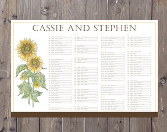 Sunflower Seating Chart, Digital, Fall Flowers, Table Assignment, Print yourself, Wedding - Choose sm, md or lg for approx 130-300 guests