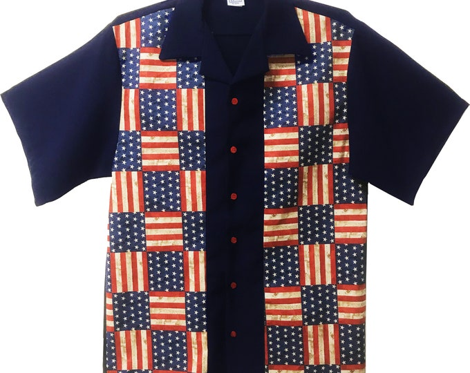 Men's Bowling Shirt - Free Shipping - Stars and Stripes American Flag Design