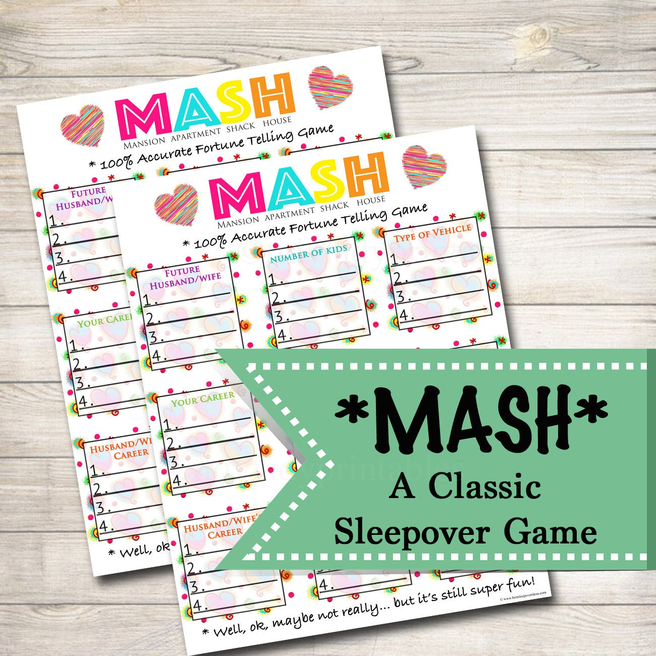 Nail Polish Bottles Fun Sleepover Games And Sleepover: Printable Mash Game Girls Party Game Spa Party Beauty Party