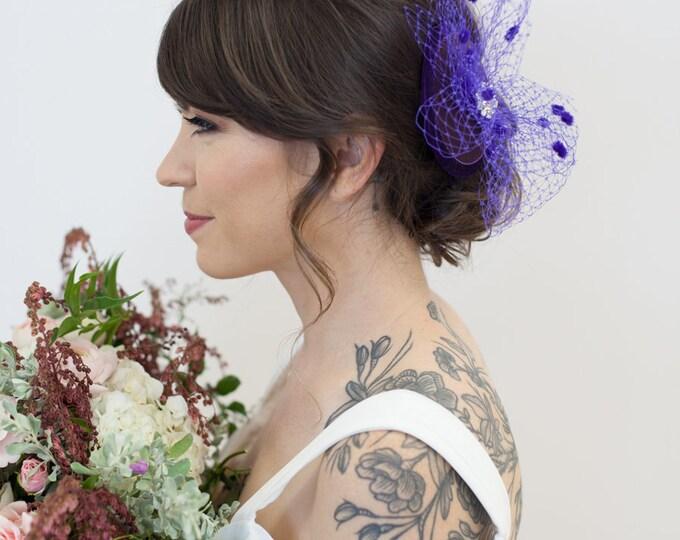 Purple Bridal Hat, Mini Hat, purple birdcage Veil, Wedding Hat, Fascinator, Birdcage Veil hat, Purple Bridal Party Headpiece