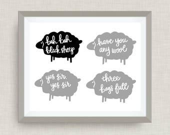 bah bah black sheep- Custom Nursery Art - Pick your colors!