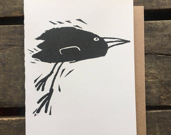 Black Bird Block Print Card