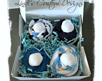 Baby Boy Shower Gift, Blue Washcloth Cupcake Gift, Newborn Baby and Hospital Gift, Washcloth Baby Gift, Baby Shower Table Decor, Unique Gift