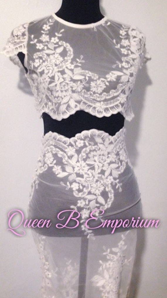 Two Piece Crystal AB Rhinestone Classy White lace Clubwear Outfit 2 Piece set Size S-M Queen B Emporium Diamond Quality Womens Outfits