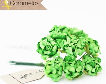 Green Crinckle Millinery Paper Roses Flowers