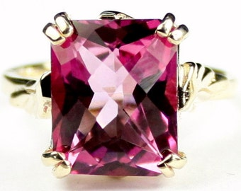 Pure Pink Topaz, 10KY Gold Ring, R188