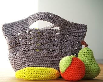7 - Patron crochet tutoriel de sac filet et fruits pour dinette