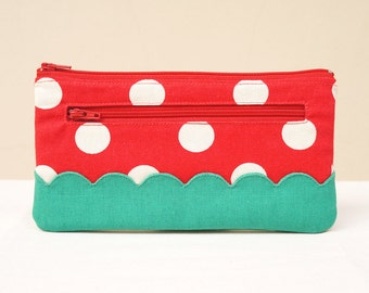 Red big polka dot with green scalloped borders zip wallet