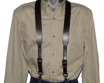 Dark Brown Leather Suspenders