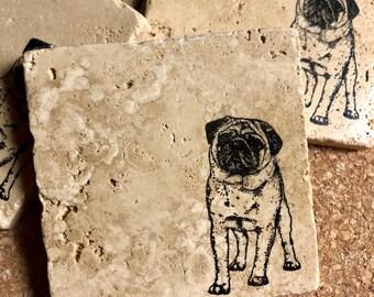 Pug Coasters ~ Dog Coasters ~ Stone Coasters  ~ Housewarming Gift~ Pet Coasters ~ Drink Coasters