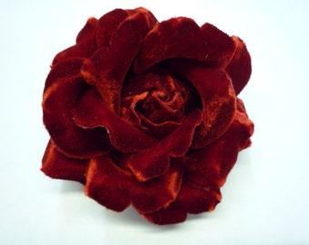 Red Velvet Rose Fabric Flower Pin / Brooch