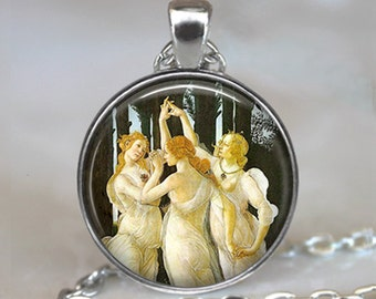 Botticelli's Three Graces art pendant, friendship necklace, Botticelli art pendant Three Graces pendant keychain key chain