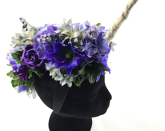 Mystical unicorn horn flower crown Handmade by Asbeau *purple and blue pastels*