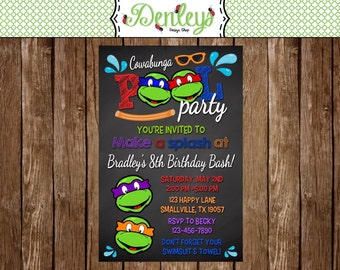 Ninja Turtle Pool Party Birthday Invitation (NT11)