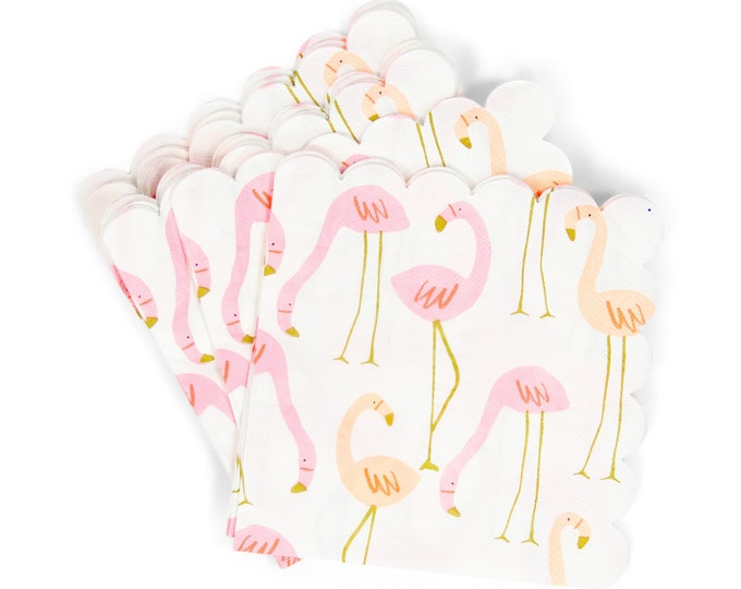 Featured listing image: 8pc Flamingo Napkin, Beach Party Decor, Pink Birthday, Luncheon Napkin,Table Setting, Gold Centerpiece, Beach Decor,Summer Party Retro peach
