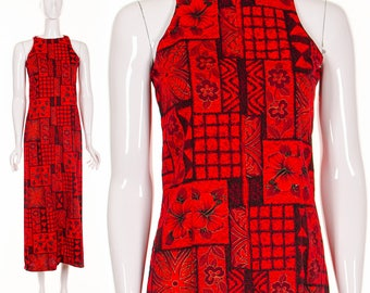60's HAWAIIAN Tropical Resort Red Maxi Dress