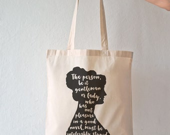 Jane Austen quote tote bag-Jane Austen tote-Literature bag-personalized tote-quote tote bag-Pride prejudice tote bag-by NATURA PICTA NPTB024