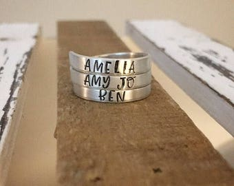 Personalized Wrap Ring - Mother's Day - Name Ring - Custom Gift - Mother's Ring - Triple Wrap Ring - Costom