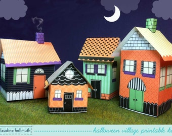 halloween village - candy boxes, gift card box, luminaries, party favor, table centerpiece, printable PDF kit - INSTANT download