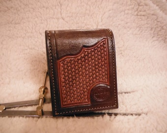 custom tooled leather wallet chocolate brown and natural color , heavy construction durable leather
