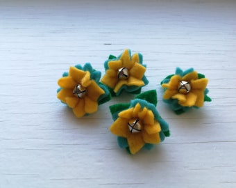 Yellow Blue Flower Cat Toys - Cactus Flowers Catnip Cat toy - 4 Little Flowers w/ bell & catnip - Fun Cat Ball - Cat toys your cat will love